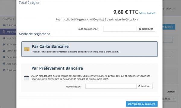 MyDelivengo easy : page de paiement par carte bancaire ou prélèvement bancaire pour l'impression d'étiquettes d'expédition