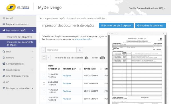MyDelivengo Profil : impression du bordereau de dépôt postal