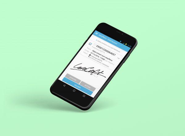 Pad mobile connecté pour la distribution d'objets entrant avec écran signature de remise au destinataire
