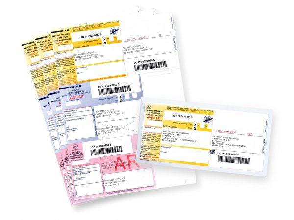Exemples de recommandé postal au format A4, éditables avec l'application easyReco.