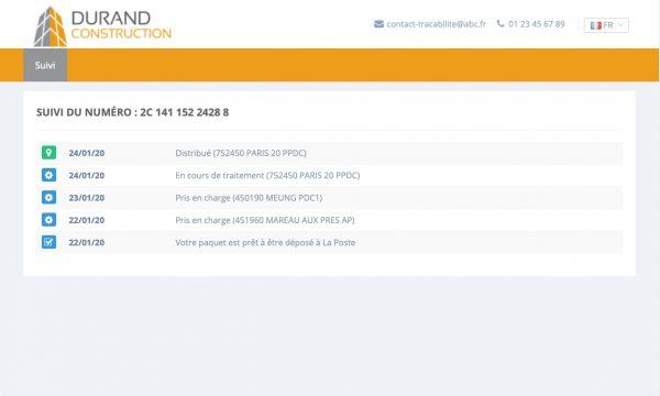 eTracking : exemple de page de suivi pour un objet tracé