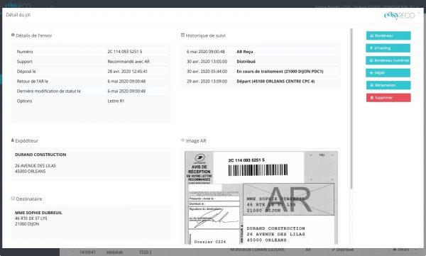 Détail d'un pli tracé après numérisation de l'AR (avis de réception) : actualisation automatique des informations de suivi et sauvegarde de l'image AR