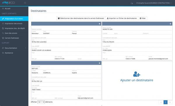 easyReco : page de préparation d'un envoi